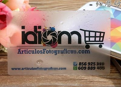 Expedited 500 Custom PVC Plastic Business Cards Printing -Frosted Transparent