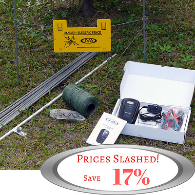 JVA PET Fence Kit: Portable Electric Fence Energiser (0.11J 1 km) PLUS hardware