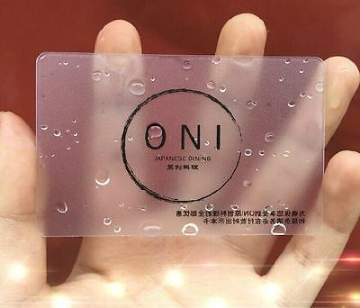 1000 PVC Plastic Business Cards Printing - Frosted Transparent Express Shipping