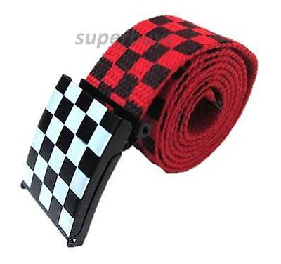 "Unisex 24- 42"" Men Women Check Canvas Waist Belt Racing Grid Buckle Band Red"