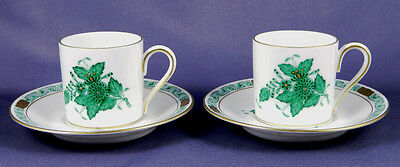 HEREND CHINESE BOUQUET GREEN Set of 2 Demitasse Cups & Saucers
