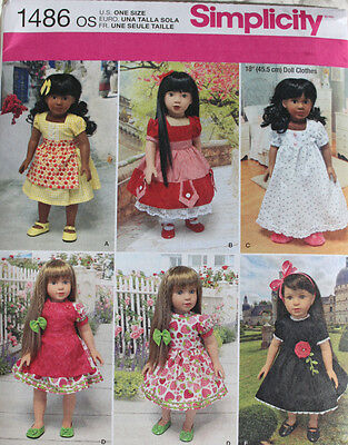 """18"""" GIRL DOLL CLOTHES Simplicity Sewing Pattern 1486 American Made NEW Uncut"""