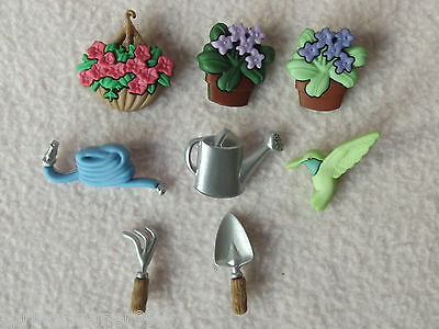 Dress It Up Buttons ~ Gardening ~ Watering Can ~ Flowers ~ Tools ~ Hose ~ Bird