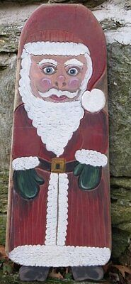 ANTIQUE SANTA CLAUS WOOD  Primitive Hide Stretcher Painted PA Dutch Folk Art