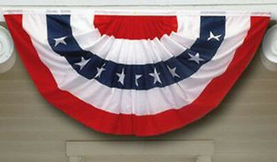 Us Flag Pleated Fan With Printed Stars 3X6 Ft Polycotton Made In Usa