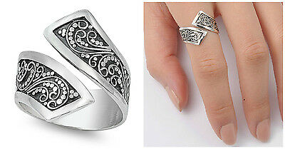 Sterling Silver 925 PRETTY WOMEN'S BALI SWIRL BAND RING DESIGN 9MM SIZES 6-10