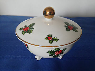 Vintage Lefton Christmas Holly Berry Footed  Covered Candy Dish Gold Leaf  VGUC