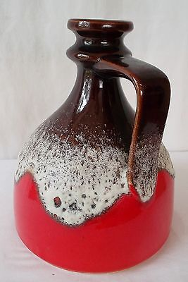 Vintage Retro West Germany BAY Brown Red Lava Pottery Fat Jug 21cm No 83-20
