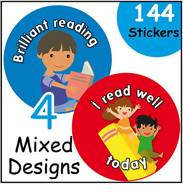 144 Reading Award Childrens Reward Stickers - 30mm - Schools, Teachers, Parents