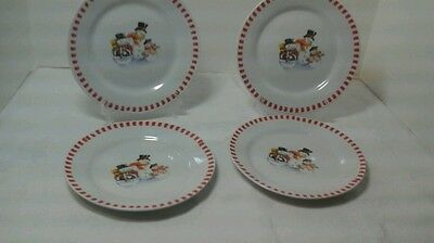 """Lot Of 4 Trisa Snowman Family 7.25"""" Plates"""