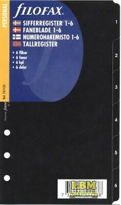 Filofax Personal size 1-6 Numbered Index Black Divider Insert Refill 751123