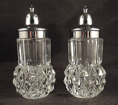 DIAMOND POINT INDIANA Clear Glass SALT AND PEPPER SHAKER Set