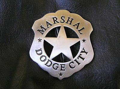 MARSHAL of DODGE CITY BADGE - Silver SHERIFF - Perfect for Dodge Owner