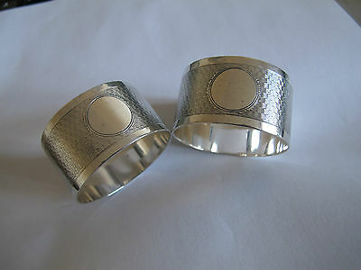 Pair Vintage Hallmarked Solid Silver Napkin Rings - William Hair Haseler - 1925