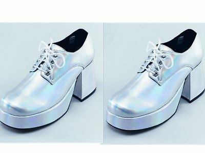Saturday Night Fever - Platform Shoes - Men's Silver Retro Dance Platform Shoes