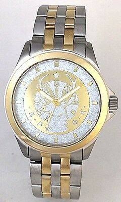 STEEL/GOLD TWO-TONE MEDALLION DIAL ELKS LODGE WATCH - Choice of 2 dial colors.