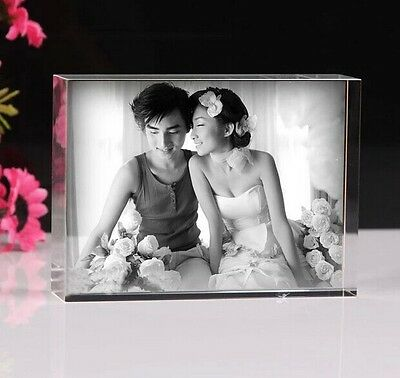 Custom Laser Etched Engraved Crystal Glass Photo Paperweight Decor Birthday Gift