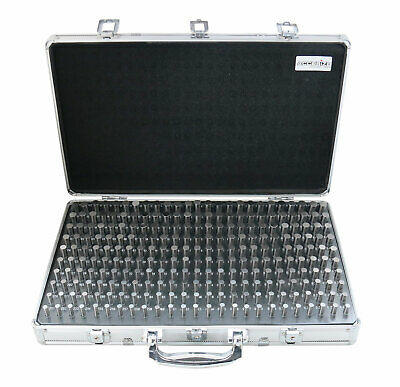 """250 Pc 0.251""""-0.500"""" Steel Plug Pin Gage Set, Minus, with Aluminum Case, M2(-)A"""