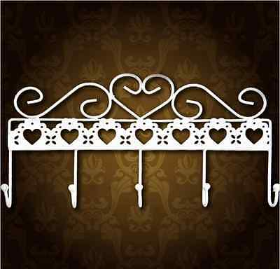 Metal Iron White Rustic Country Coat Clothes Robe Hat Hanger Hook Diy Wall Rack