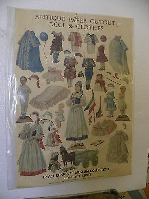 Antique Paper Doll and Clothes cutout Replica 1800's