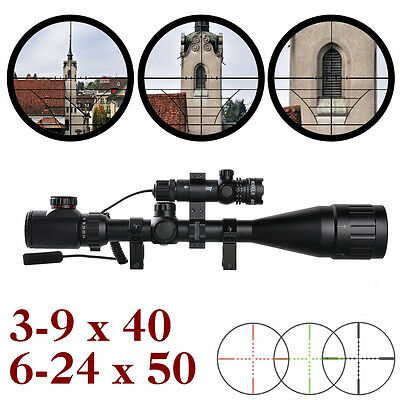 UK Stock 3-9x40 6-24x50 Air Rifle scope /11mm 20mm Mounts / Red Dot Laser Sight