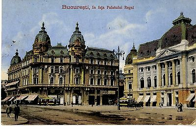 AK Bukarest Bucuresti  In fata Palatului Regal Feldpost 1917