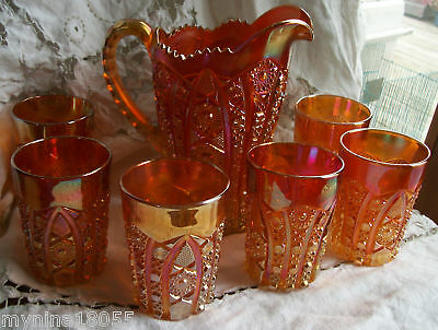 Imperial Carnival Marigold Daisy Pitcher & 6 Glass Set