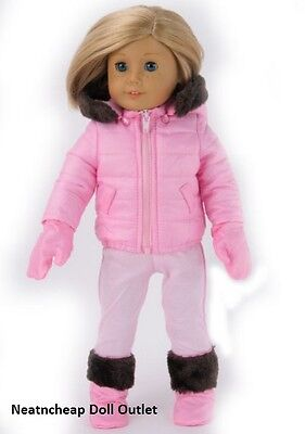 "PINK JACKET COAT BOOTS GLOVES PANTS SNOW SKI Outfit Fits 18"" American Girl Doll"
