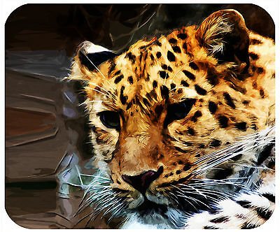 Mouse Pad Custom Personalized, Thick Mousepad-Painted Leopard-Add Any Text Free