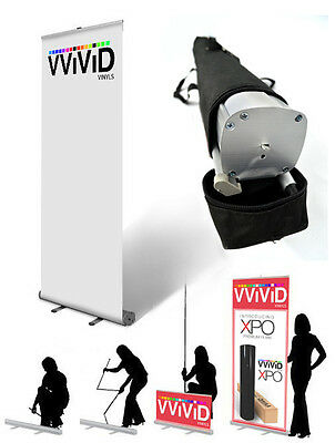 """Retractable Banner Stand roll up Trade show Display 32"""" wide 79"""" tall CL-R-S-3"""