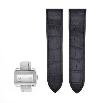 Complete Leather Strap Band For Cartier Santos 100 Xl Chronograph W20090X8 Black