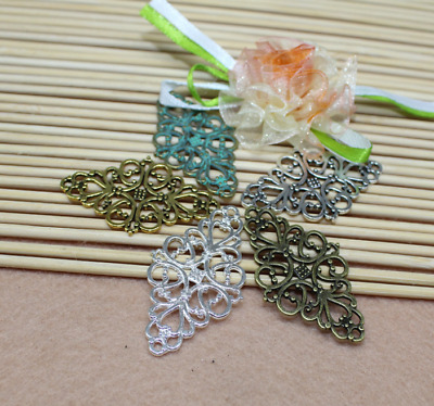 10/30pcs 25x41mm Hot Antique Silver Filigree Flower Rhombus Connector Link gift