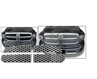 Fits 2013-2015 Dodge  Ram 1500-Chrome Grille Overlay