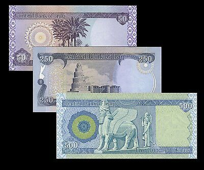 Iraqi Dinar 500, 250, and 50 One of Each Note New Iraq Dianr Uncirculated