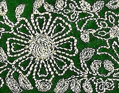 Wide, Embroidered, Iron-On Trim. 3 Yards. Gold on Green