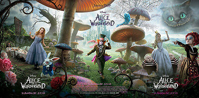 "Alice IN Wonderland Movie Silk Cloth Poster 47 x 24"" Decor 8"