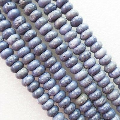 10x5mm Excellent Natural Blue Coral Rondelle loose bead 15.5 inch W5740