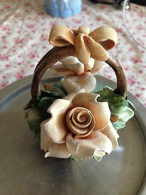 """Vintage Small CAPODIMONTE Pottery Flower Basket, MADE IN ITALY, """"N"""" MARK"""