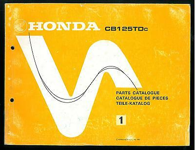 Manuel HONDA CATALOGUE de PIECES CB 125 TD twin PARTS LIST Teile Katalog Manual