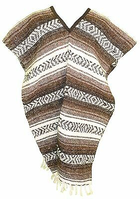 Traditional Mexican Poncho - DARK BROWN - ONE SIZE FITS ALL Blanket Serape Gaban