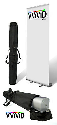 """Retractable Roll Up Banner Stand 32"""" wide 79"""" tall Display"""