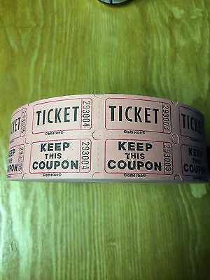 5 Roll lot of double ticket raffle tickets! All pink in color.
