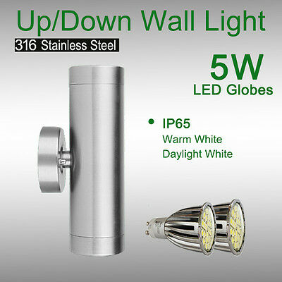 2X Up/ Down Exterior Wall Light with LED Globe 316 Stainless Steel Waterproof