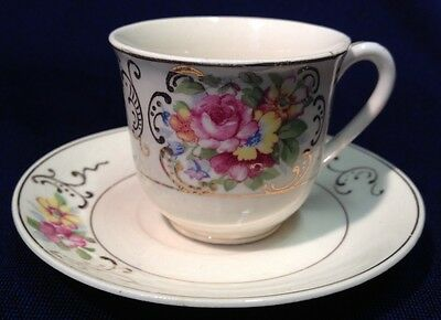 Vintage Hinode Hirode Cup & Saucer Made In Japan Gold Accent Roses