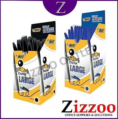 BIC CRISTAL PENS LARGE - 1.6MM IN BLACK OR BLUE - VARIOUS QTY's + FREE P&P!