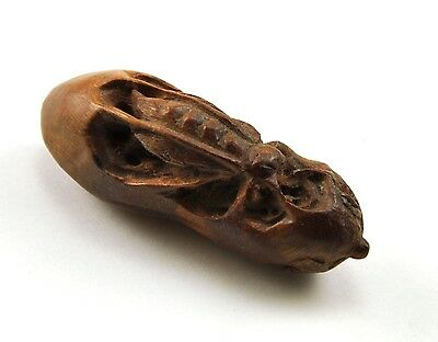 Vintage Insect Cicada BOXWOOD Solid Natural Wood Hand Carved Figurine Miniature