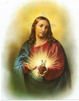 Catholic Picture Print Sacred Heart of Jesus Christ 8x10 Cromo of Italy