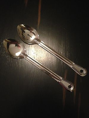 """12 Serving Spoons 13"""" Stainless Steel Free Shipping Usa Only"""