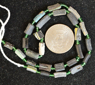 Ancient Roman Glass Beads 1 Medium Strand  Black And Green 100-200 Bc 0210
