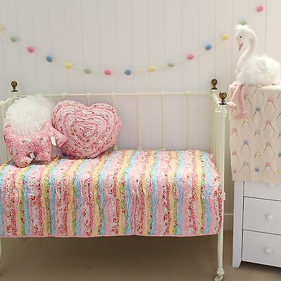 2 pce Millie Frill Shabby Chic Cot Quilt & Heart Cushion Set Linens N Things